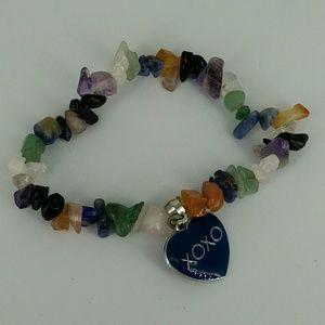 Jewelry - Natural Stone Chip Bracelet XOXO Heart Charm